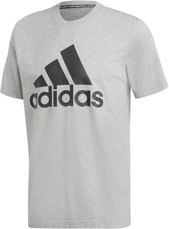 adidas MH BOS Tee Heren Sportshirt - Medium Grey Heather/Black - Maat L