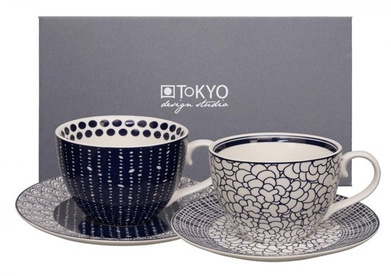 Tokyo Design Studio Le Bleu De Nîmes Cappuccinokoppen en Schotels - 4-delig - 2-persoons - 310ml