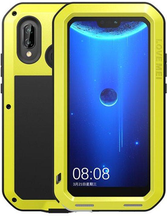 Metalen fullbody hoes voor Huawei P20 Lite, Love Mei, metalen extreme protection case, zwart-geel