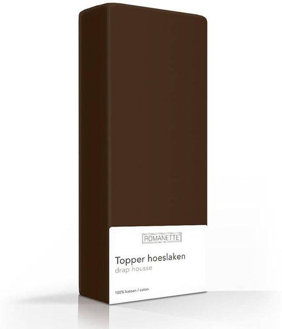Topper Hoeslaken 80x200.Bol Com Romanette Topper Hoeslaken Bruin 1 Persoons 80x200 Cm