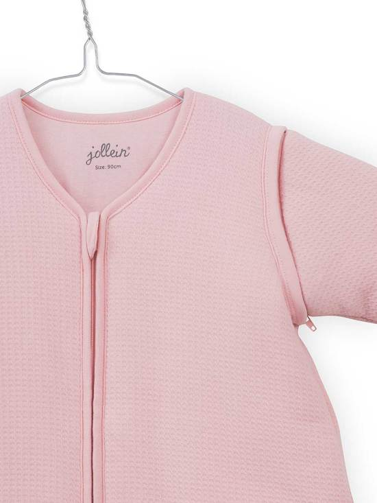 Jollein Tiny waffle Padded Babyslaapzak met afritsbare mouw - 110cm soft pink