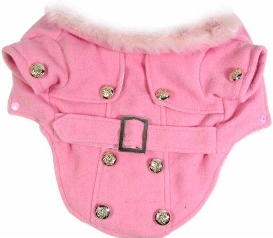Warme honden jas - Winterjas voor honden - Wollen jas - Gevoerde hondenjas - Maat S - Roze