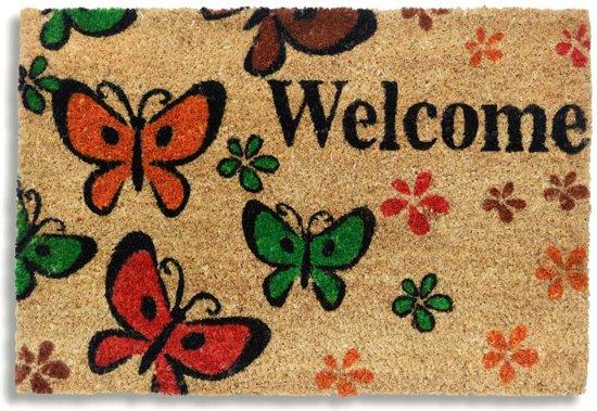 Kokosmat met print / Welcome Butterfly 400 / 40 cm x 60 cm /