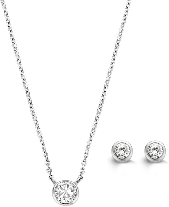 TI SENTO Milano Gift set – Gehodineerd sterling zilver collier (38-42 cm) met bijpassende oorbellen