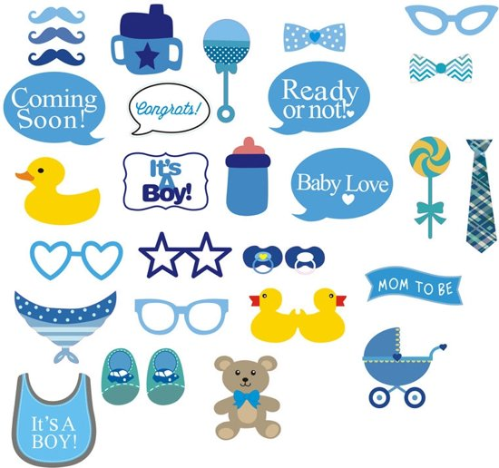 Bolcom Babyshower Jongen Boy Photobooth Prop Set Fordig