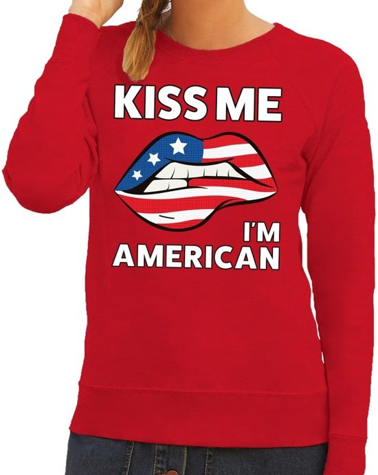 Kiss me I am American sweater rood dames S
