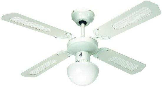 FARELEK - BALI � 107 cm - Omkeerbare Stille plafondventilator, 4 witte lamellen / witte stokken + verlichting - 112420