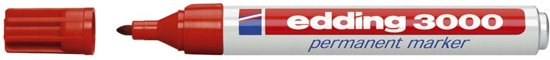 Permanent Marker Edding 3000 Rond Rood - 1 Stuk