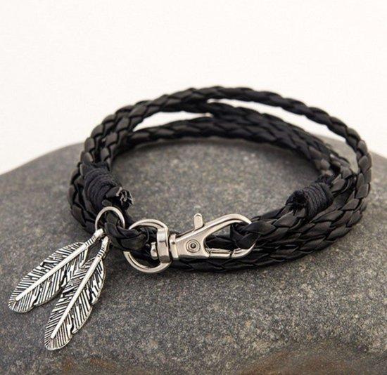 d4fd54460a7 bol.com | Zwarte heren armband met veer