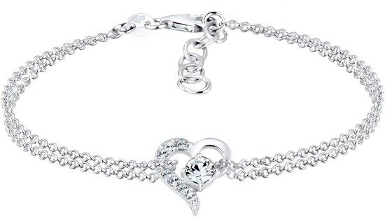 Elli Armbanden 925 Sterling Zilver Hartje met Swarovski® Kristal
