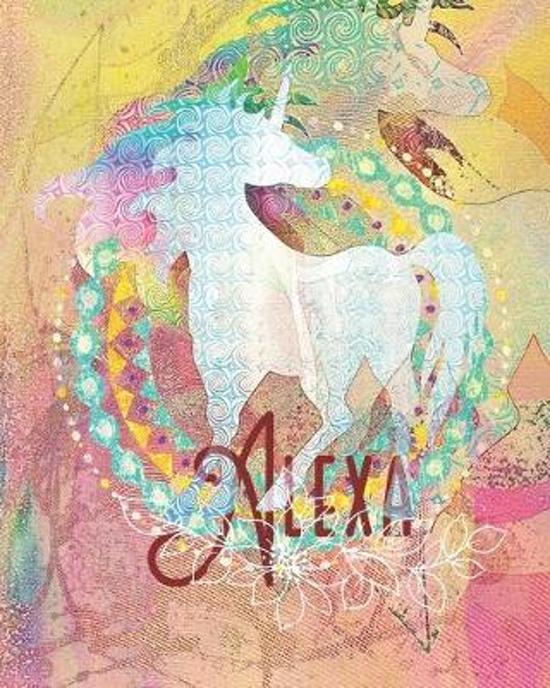 Alexa: Colorful Rainbow Unicorn - 100 Pages 8''X10'' Girl's Composition Wide Ruled Notebook