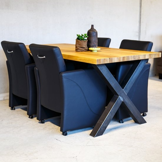 Leren eetkamerstoel pleasure met armleunig for Eetkamerstoel hout met leer