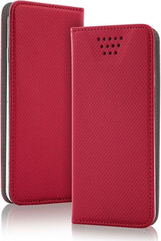 Luxe Smart Magnet luxe book case, extra sterke business uitvoering, maat M. Wallet book hoesje in extra luxe TPU leren uitvoering, business kwaliteit, rood , merk i12Cover in Uffelte