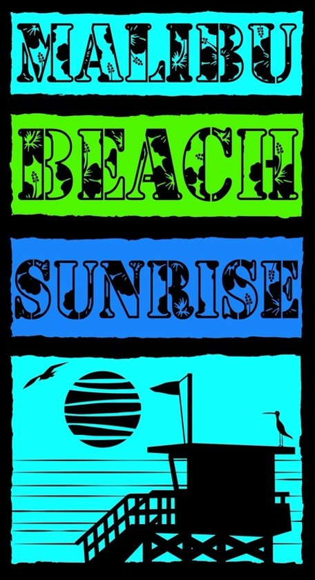 Luxe badlaken/strandlaken grote handdoek 100 x 175 cm Malibu Beach