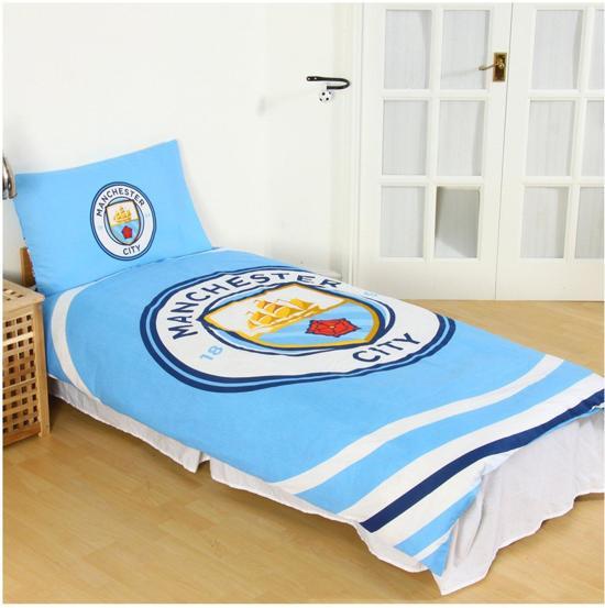 Manchester City - 1 Persoons Dekbedovertrek - Reversible - 135 x 200 cm