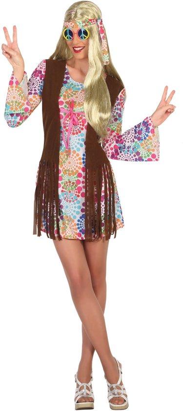 Veelkleurige hippie jaren 60 jurk voor vrouwen - Volwassenen kostuums