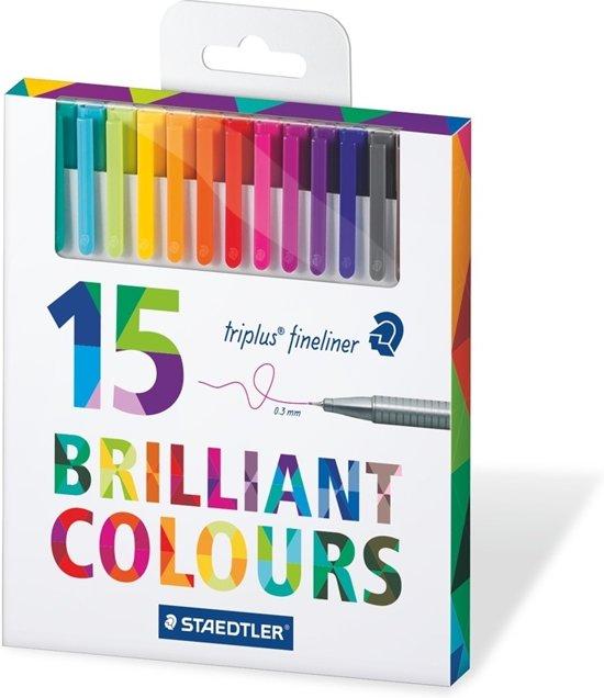Staedtler fineliner Triplus doos met 15 geassorteerde kleuren