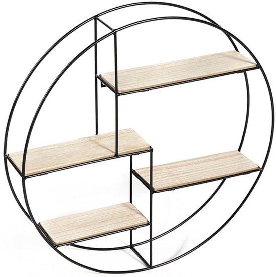 Wandrek rond | industrieel | metaal en MDF hout | 4 planken | zwart metalen rek