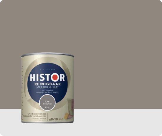 Histor perfect finish muurverf reinigbaar mat 1 liter klei - Grijze verf leisteen ...