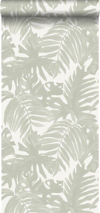 a18847dd5589d9 ESTAhome behang tropische bladeren lichtgrijs