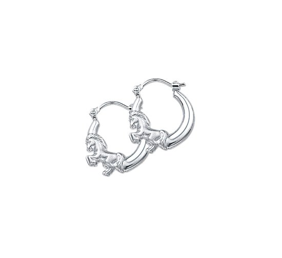The Jewelry Collection oorringen Paard Poli/mat - Zilver