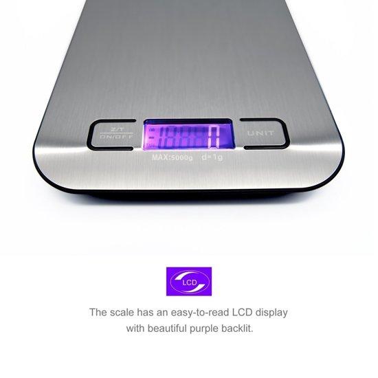 Saveur Royal® Hoge Precisie Digitale Keukenweegschaal in Roestvrij Staal met uiterst precieze tarra-functie (inclusief batterijen)