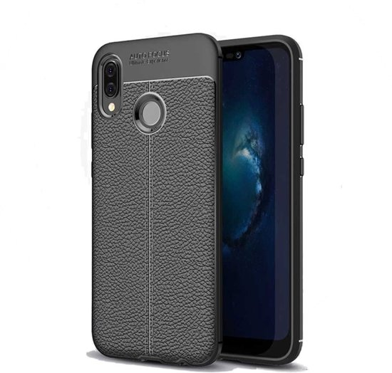 Teleplus Huawei Y7 2019 Leather Textured Silicone Case Black + Nano Screen Protector hoesje