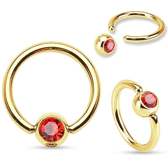 Tepelpiercing ring gold plated rood steentje