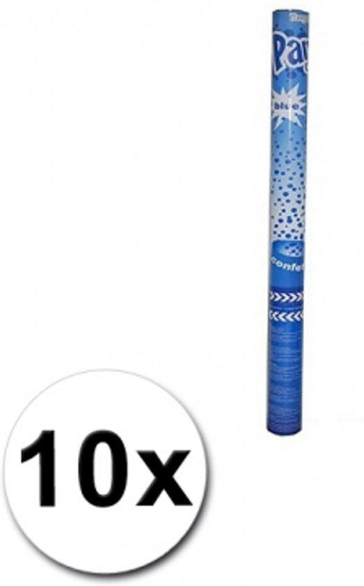 10 confetti shooters blauw 60 cm - party popper / confetti kanon