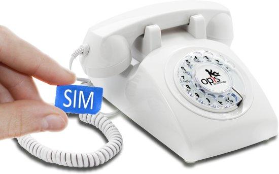 retro telefoon met sim kaart Opis '60 mobile wit