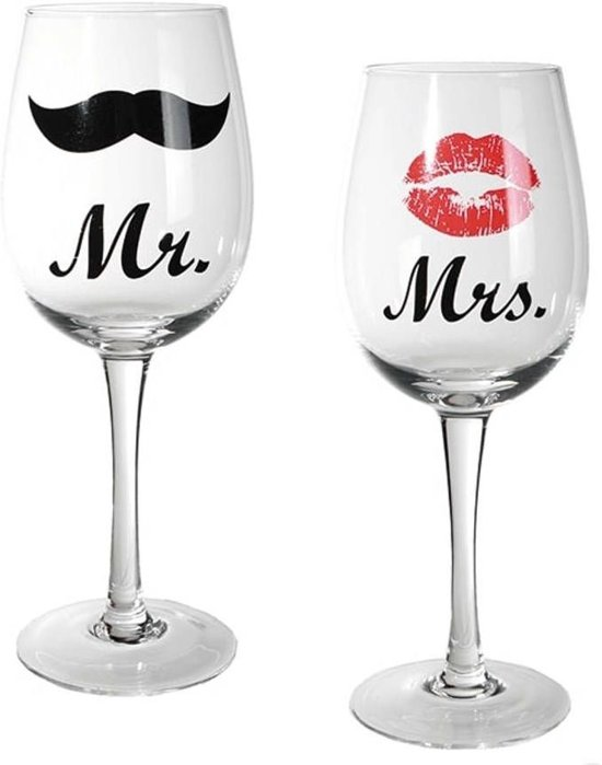 Mr & Mrs wijnglazen set