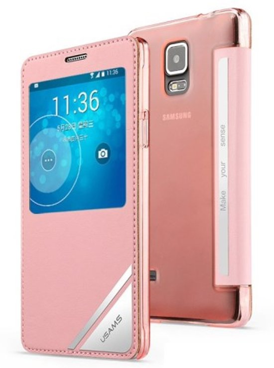 USAMS Flip Case Viva Series Samsung Galaxy Note 4 pink