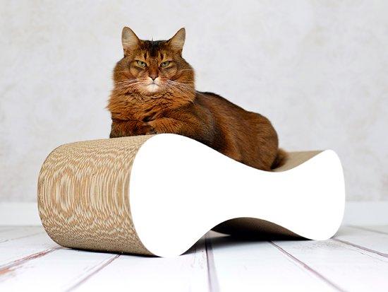 """Cat-On® kartonnen krabmeubel """"LE VER"""" M - 000x wit"""