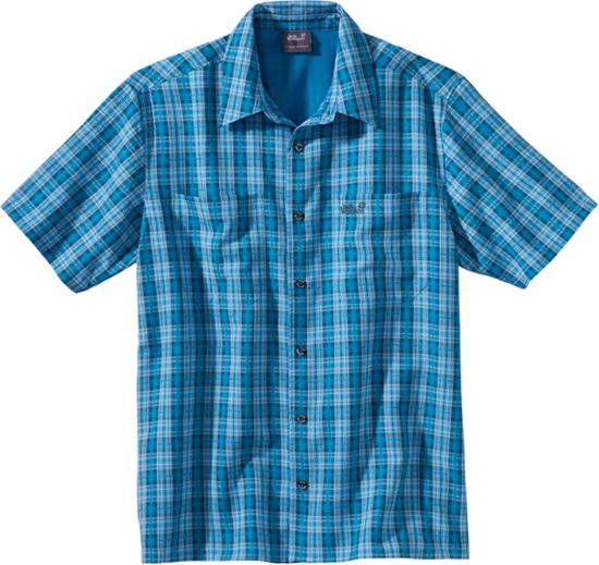 Jack Wolfskin Diamond Bay Mosquito Shirt - heren - blouse korte mouw - maat XL - blauw/wit geruit