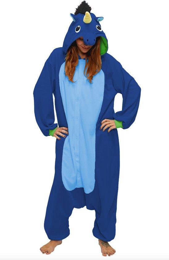 KIMU onesie Eenhoorn Unicorn donkerblauw pak kostuum - maat XS-S - jumpsuit huispak