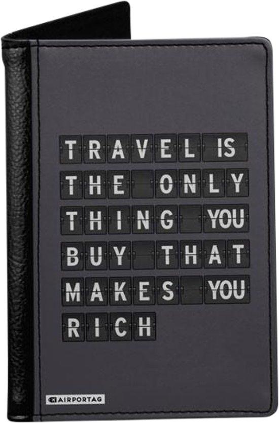 'Travel is the only thing you buy that makes you rich' - Paspoorthoes - Paspoorthouder - Paspoort Protector - Beschermhoes - Cover - Mapje - Canvas / Leer - Bescherming van je paspoort - Voor Op Reis / Reizen / Vakantie