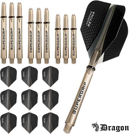 Dragon Darts – Harrows - Combi kit – Retina – 3 sets darts shafts – 3 sets darts flights - Smokey