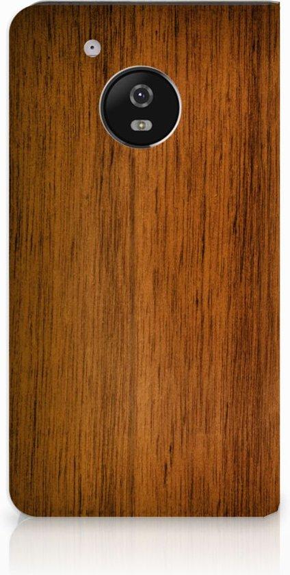 Motorola Moto G5 Uniek Standcase Hoesje Donker Hout