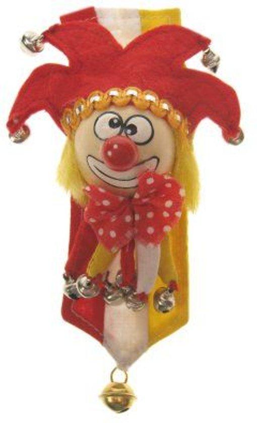 Broche clown rood wit geel met banner