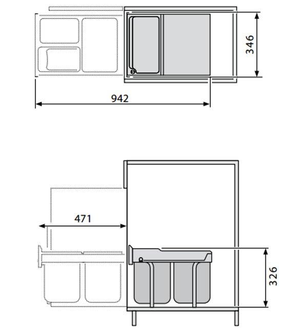 Hailo Tandem RB Inbouwafvalemmer 36 L