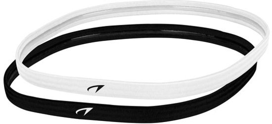 Sporthaarband - Elastiek - Haarlint - Haarband Sport - o.a. Hockey / Hardlopen / Voetbal - Anti-Slip - 10 mm - 2 stuks (1 x Wit / 1 x Zwart)