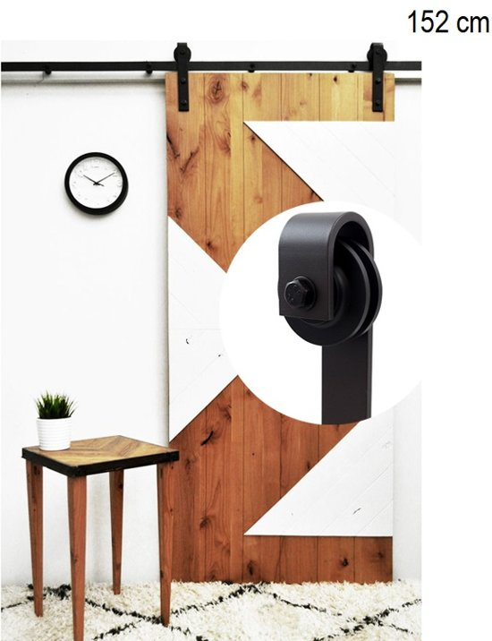 Schuifdeursysteem 150cm Schuifdeurbeslag Mat zwart Smeedijzereffect met hangrollen - 152 cm schuifdeur systeem
