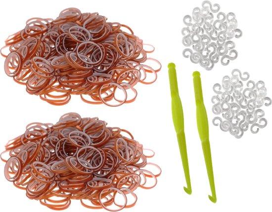 600 Loom Bands met 2 weefhaken en S-clips bruin & wit