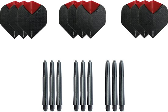 9 Skylight  Rood Super stevige - flights - plus 9 zwarte nylon - shafts -