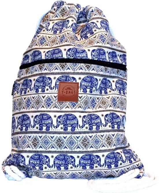 Rugtas Elephant Blue   T-Bags   100% Katoen   14 Liter   Wit & Blauw   Comfortabel
