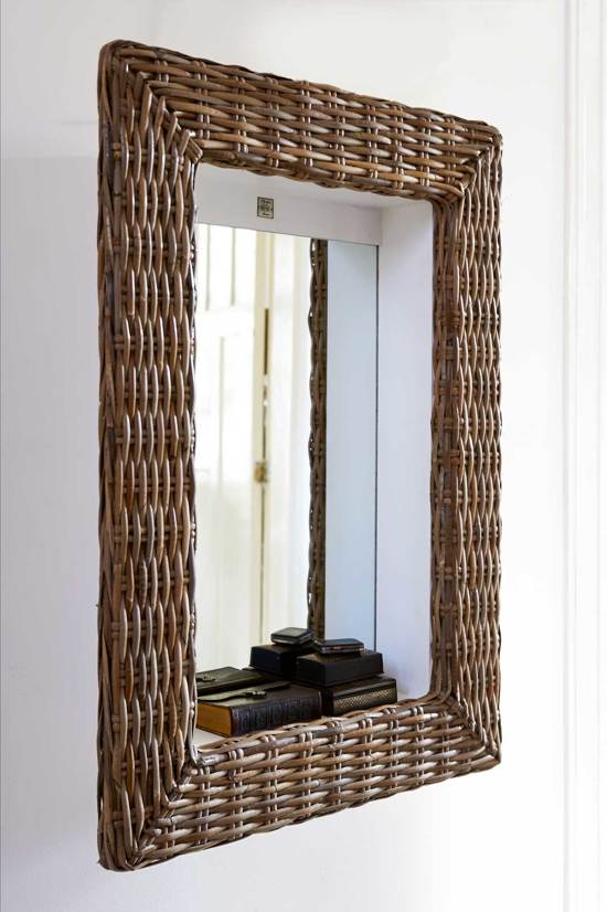 rivi ra maison rustic rattan shadow mirror spiegel 62 x 86 cm rattan. Black Bedroom Furniture Sets. Home Design Ideas