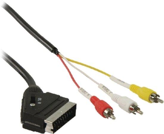 schakelbare scart naar tulp kabel adapter scart male naar 3x rca av composiet kab. Black Bedroom Furniture Sets. Home Design Ideas