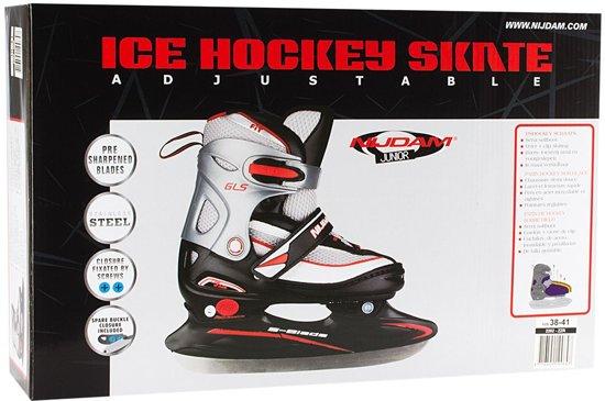 Nijdam 2202 Junior IJshockeyschaats - Verstelbaar - Maat 34-37 - Semi-Softboot - Zwart/Zilver/Rood