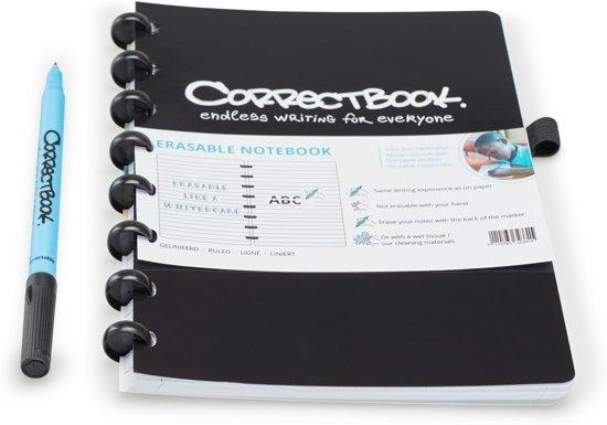 Whiteboard notitieblok / schrift  - Correctbook - A5 - Gelijnd - Zwart