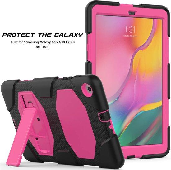 Samsung Tab A 10.1 model 2019 Bumper Case met ingebouwde kickstand roze